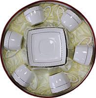 """Чайный сервиз фарфоровый 12 предметный с квадратными чашками """"Снежная Королева"""""""