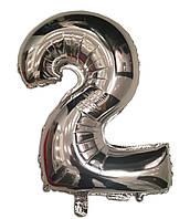 Шар цифра 2 фольгированный серебро 35 см.