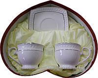 """Чайный сервиз фарфоровый 4 предметный с круглыми чашками """"Снежная Королева"""""""
