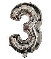 Шар цифра 3 фольгированный серебро 35 см.