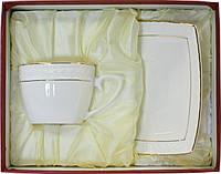 """Чайный сервиз фарфоровый 2 предметный с квадратными чашками """"Снежная Королева"""""""