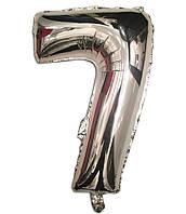 Шар цифра 7 фольгированный серебро 35 см.