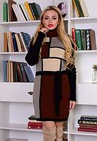 Вязаное платье Кубик черный+коричневый 42-48