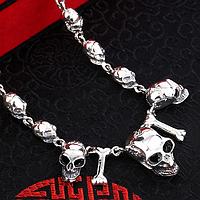 Мужская унисекс серебряная цепочка ожерелье Черепа 57,5 см  6 мм  58,42 грамма