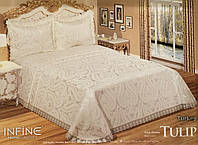 Жаккардовое покрывало с кружевом Infine Tulip White 255*265