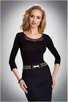 Блузка, кофточка женская черная с длинным рукавом Eldar ASHLEY офисная деловая одежда