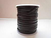 Кожаная тесьма 3мм тёмно - коричневая