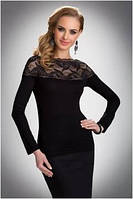Блузка, кофточка женская черная с длинным рукавом Eldar HAIDI офисная деловая одежда