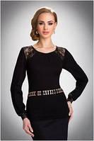 Блузка, кофточка женская черная с длинным рукавом Eldar HILARY офисная деловая одежда