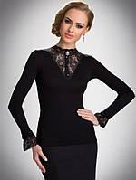 Блузка, кофточка женская черная с длинным рукавом Eldar ROSA офисная деловая одежда