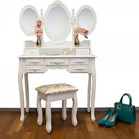 Туалетный столик Эльза белый с зеркалом