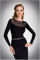 Блузка, кофточка женская черная с длинным рукавом Eldar TALA офисная деловая одежда