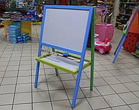 Мольберт пенал двухсторонний окрашенный магнитный для рисования мелом и маркерами для детей