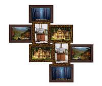 Интерьерная мультирамка «Узелок» цвета золотой шоколад (8 фото 10х15)