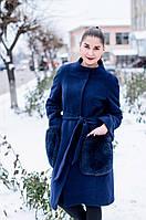 Кашемировое пальто с накладными карманами из натурального меха песца, цвет синий