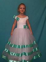 Детское белое нарядное  длинное платье