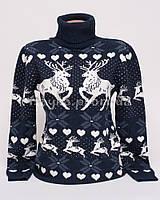 Теплый женский шерстяной свитер р.44-48 с орнаментом олени B3-1