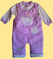 Теплый костюм для новорожденной девочки: батник и утепленный полукомбинезон, 3-6 мес.