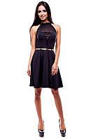 Коктейльное платье  без рукавов со вставкой полупрозрачной сетки