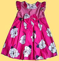 Платье летнее детское розовое в белые розы, для девочки р. 6, 8 лет