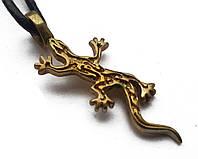 Амулет Талисман Сили, Саламандра - сила Розвитку, В комплекті шкіряний шнурок 45 см, бронза, метал