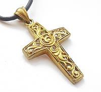 Амулет на шею, Хрест Лергас - сила Осяяння, В комплекті шкіряний шнурок 45 см, бронза, метал