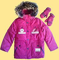 Бордовая теплая детская куртка с капюшоном и варежки, р. 134