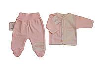 Комплект ясельный для девочки из 2 предметов Gapchinska  (ползуны, распашонка) розовый  49/56 см