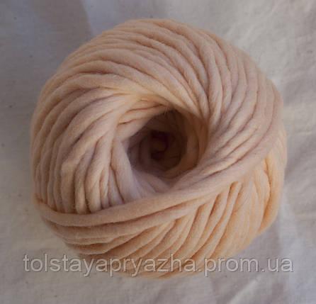 Товста пряжа меринос 5 мм персик, фото 2