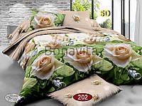Двуспальный комплект постельного белья Ранфорс 3D РОЗА В ПОСТЕЛИ