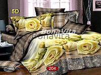 Двуспальный комплект постельного белья Ранфорс 3D Белая РОЗА