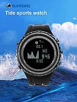 Часы рыбацкие барометр Sunroad FR830 с фазами луны, альтиметр, компас, термометр, водозащита 5АТМ