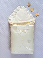 """Нарядный зимний конверт """"Джентльмен"""" для мальчика на выписку (молоко)"""