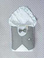 """Нарядный зимний конверт """"Джентльмен"""" для мальчика на выписку (серая полоска), фото 1"""