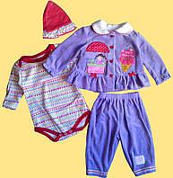 """Кофточка, боди, брючки, шапочка - фиолетовый костюмчик """"Пломбир"""" для новорожденной, р.3,  6 мес."""