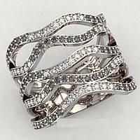 Кольцо серебряное Волны