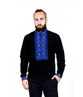 Мужская вышитая рубашка черная с синим  М-422-1