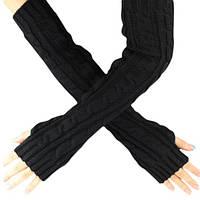 Длинные черные митенки (перчатки без пальцев) 50см