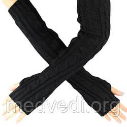 Черные длинные перчатки без пальцев 50см (женские митенки)