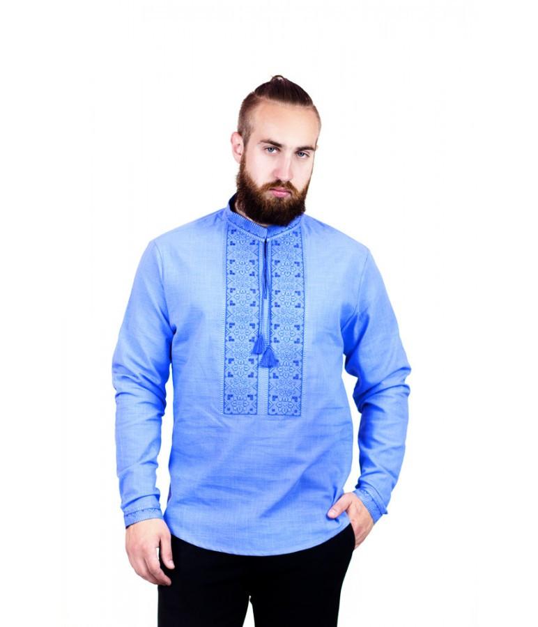 """Вышитая мужская рубашка синяя """"Ришелье"""" М-417-9"""