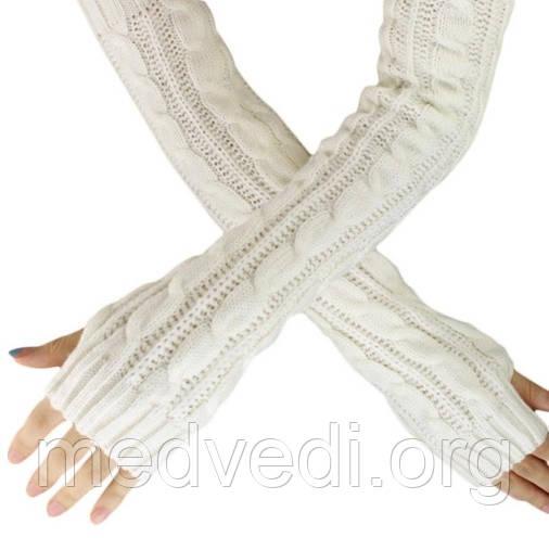 Длинные белые митенки (перчатки без пальцев) 50см