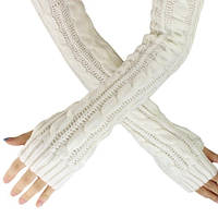 Белые длинные перчатки без пальцев 50см (женские митенки)