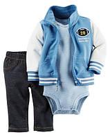 Боди + Штаны + Кофта Carters на новорожденного до 55 см. Костюм из 3-х частей Carters