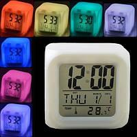 Часы будильник LED переливающиеся 7 цветов Glowing Led Color Change Digital Alarm Clock