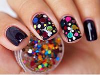 Камифибуки, конфети круглые для декора ногтей, яркий блеск, фото 1