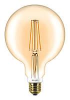 Лампа светодиодная декоративная Philips LED Fila Dim E27 7-60W 2700K 230V G120 GOLD, 929001229108