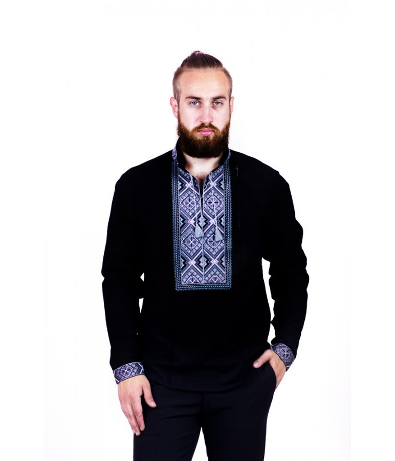Вышитая мужская  рубашка с серой стойкой и помпонами М-422-2