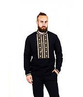 Мужская вышитая рубашка хаки с помпонами  М-423-2, фото 1