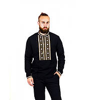 Мужская вышитая рубашка хаки с помпонами  М-423-2