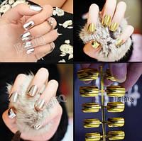 Зеркальные ногти, хром эффект на накладных ногтях